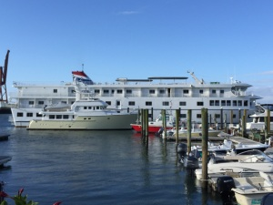 At Portside Marina in Morehead City alongside small American Cruise ship