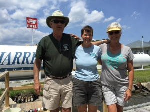 Kathy with Lenny and Pam at Jarrett Bay Fuel dock