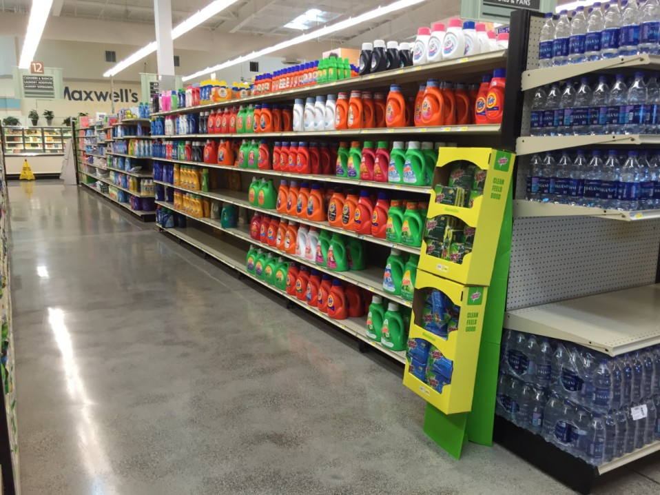 Maxwell's Supermarket - with products aligned with precision