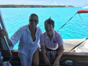Kathy and Samantha finally meet near Staniel Cay