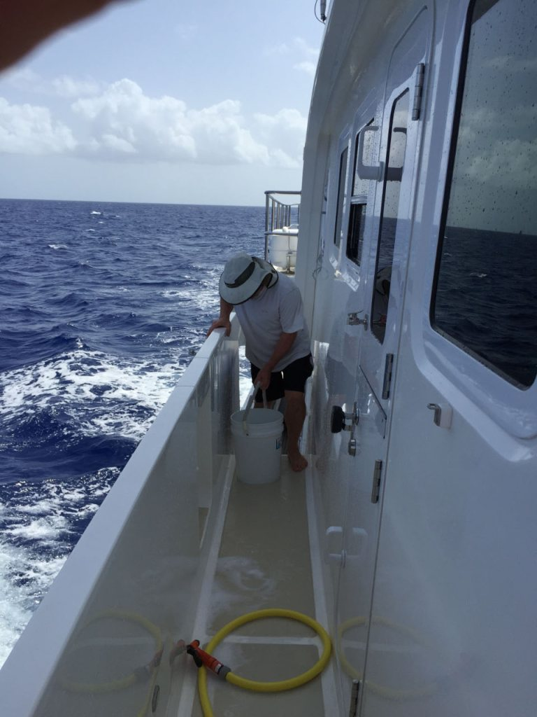 Washing the boat while underway