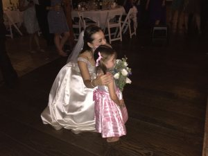 Bride Mary with her little cousin Sophie