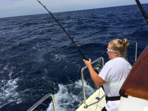 Mandy catches a fish