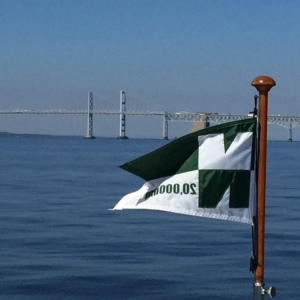 About to pass under the Bay Bridge near Annapolis