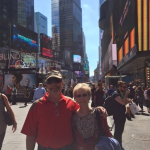 Bradley and cousin Carlyn in Time Square