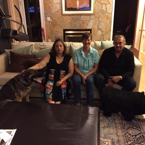 Kathy with good friend Bina and Sudhakar and Diesel the Dog