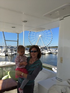 Christeen and Sophie on the flybridge