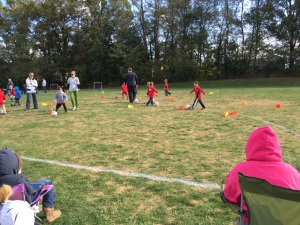 Tyler and other 5-year olds play soccer