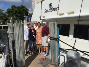 We finally see the legendary Nordhavn 68 San Souci, which was docked outside our lunch restaurant in Ft. Lauderdale. Owners Ken and Roberta were back in Seattle though.