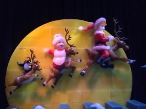 Ice sculptures of Santa and reindeer