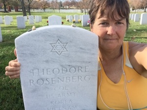 Visiting Bradley's father at Arlington National Cemetery