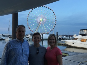 Phillip, Caren and son visit Shear Madness