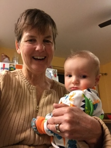 Kathy meets great-nephew Oliver for the first time