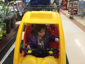 At the grocery store with great-niece Sophie