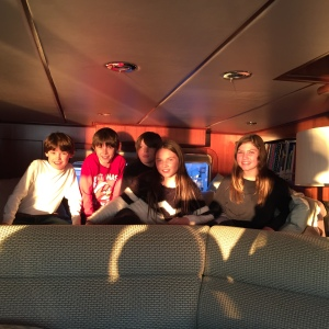 Tracy's kids and friends test out the berth in the Pilot House