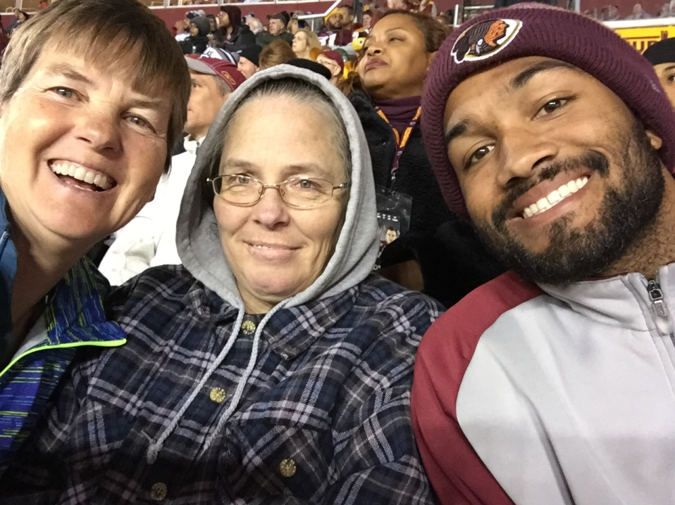 Kathy visits April and Kevin at Redskins game