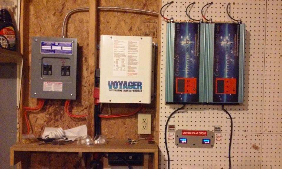 Garage setup - breakers, marine inverter and solar inverters