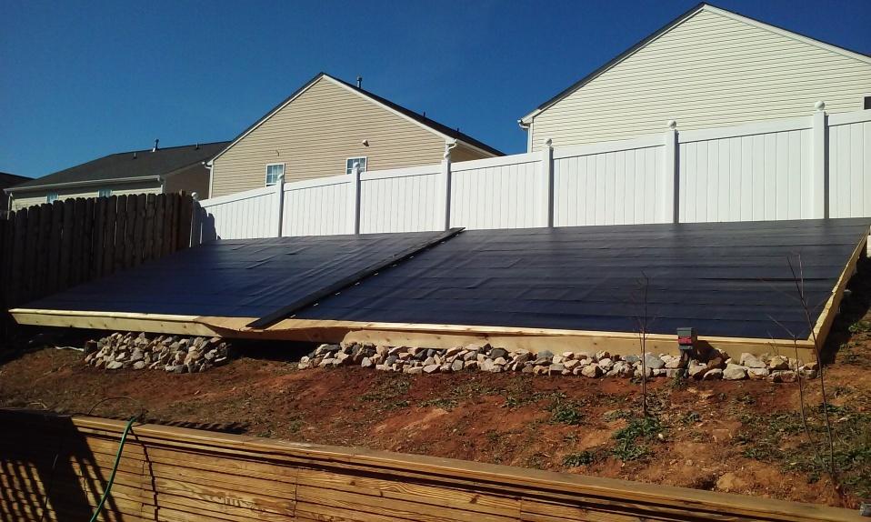 Solar panels on left side of house