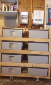 Batteries in their new permanent shelves