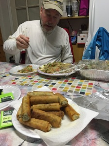 Bradley enjoys pancit and lumpia before departing from DC (thanks to my step-mother Virginia!)