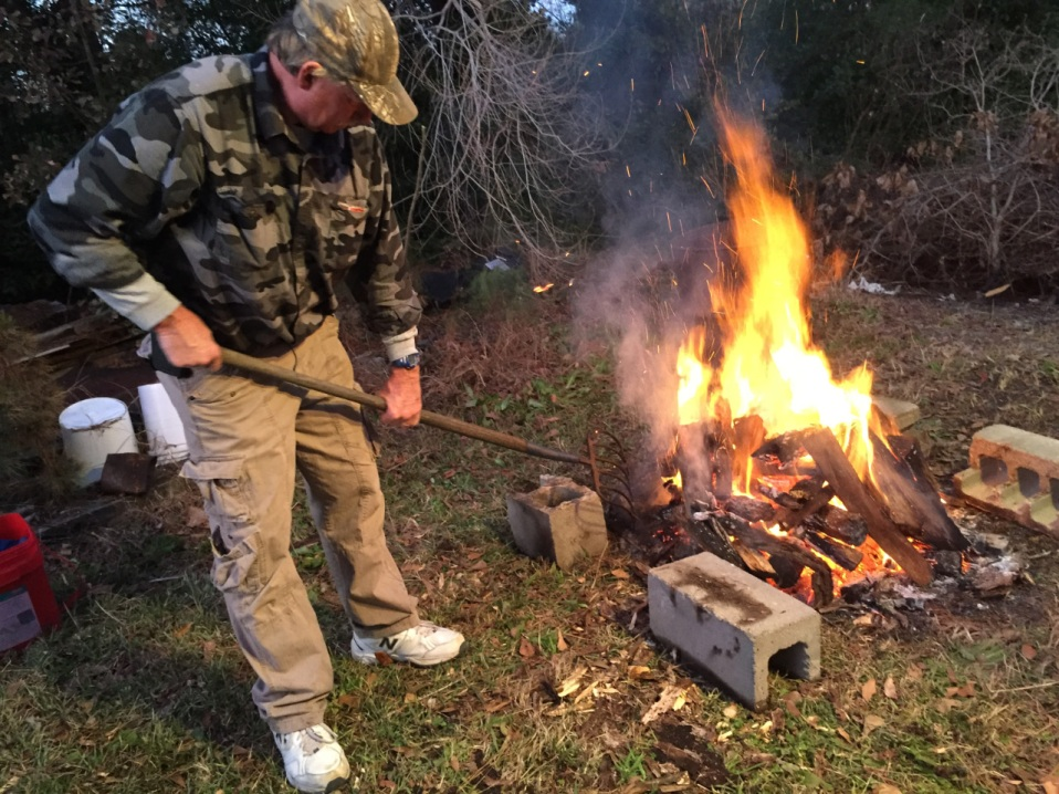 Steve works on the fire