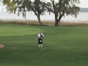 Bagpiper at The Lodge