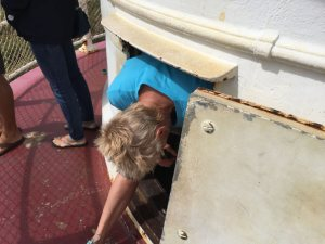 Wendy reaches upper level of lighthouse