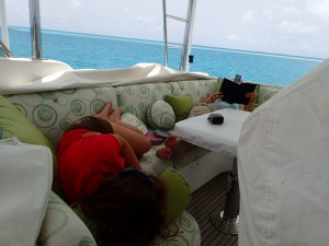 Katie and Bri relax in the flybridge