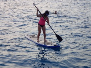 Katie takes a turn on the paddle board