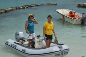 Jennifer and Kathy going ashore
