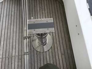 Flybridge table removed and stored in guest cabin